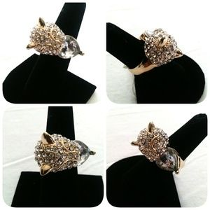 🆕 Gold Crystal Cat Ring Size 7